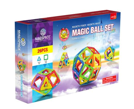 Set de constructie magnetic 3D Magspace - Magic Ball Set - 26 piese-0